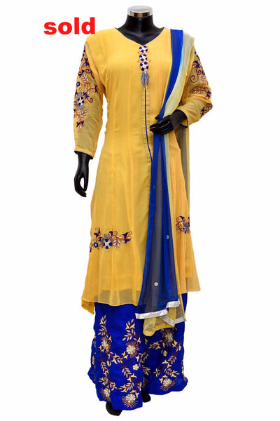 Blue and yellow embroidered dress # fdn0249