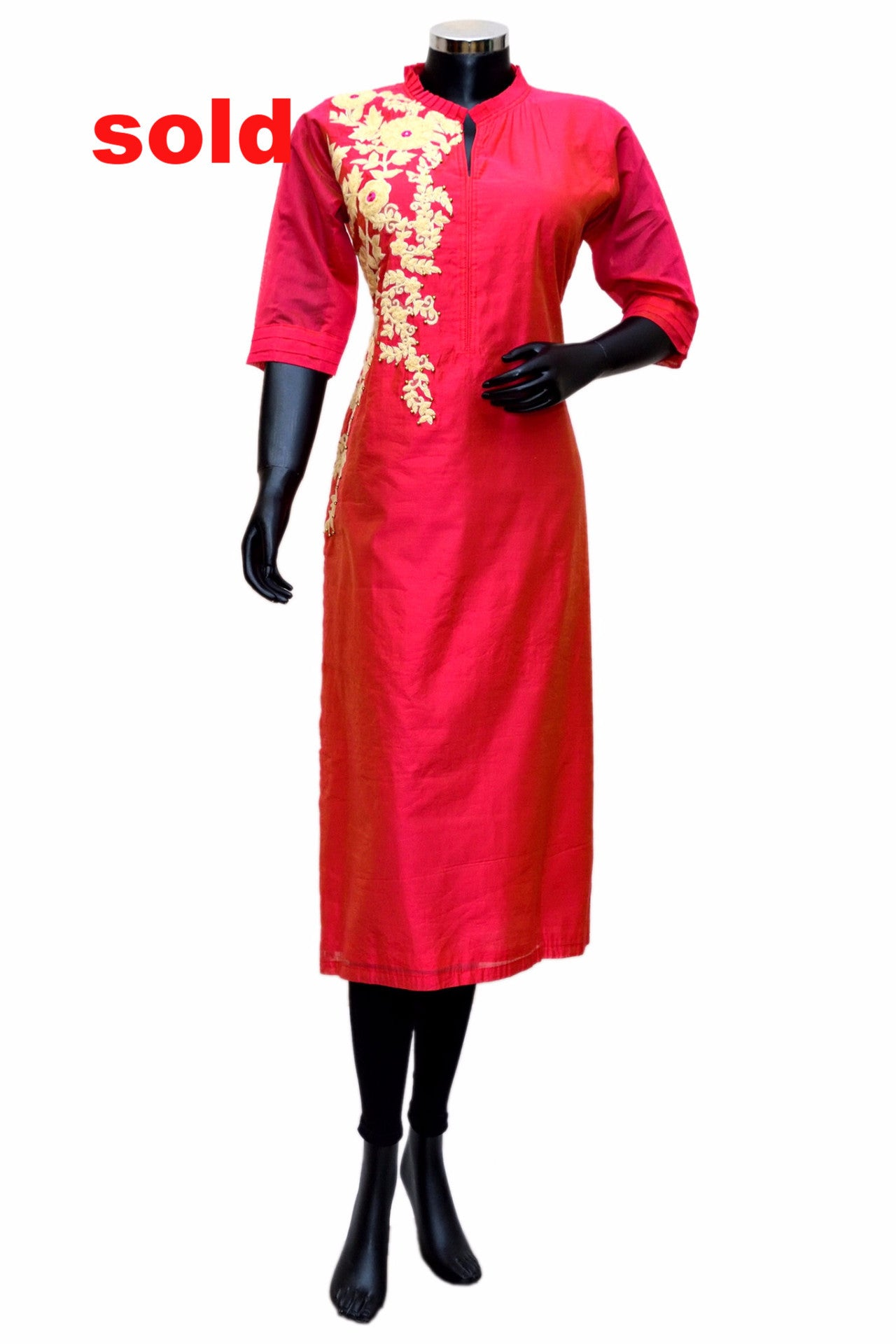 Red embroidered kurta # fdn0259