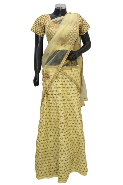 Yellow color embroidered lengha #fdn1467-431