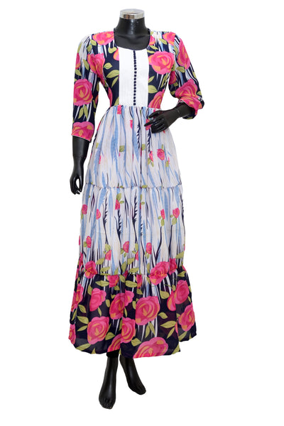 Printed long georgette dress #fdn1914-101