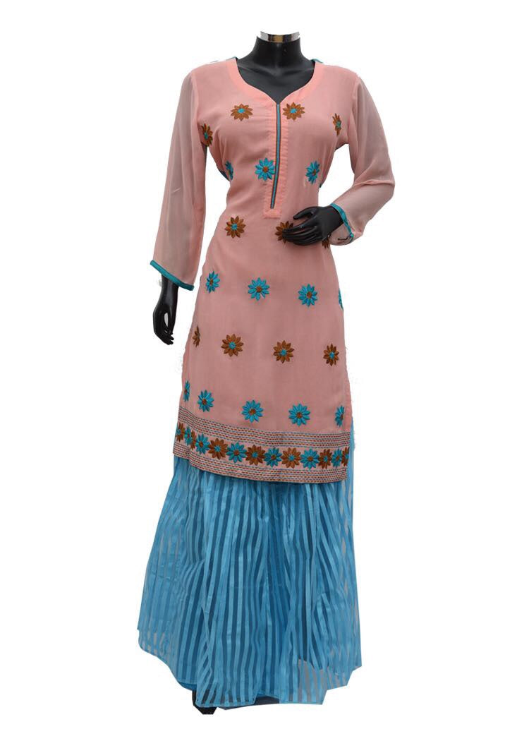 Embroidered kurta with skirt #fdn753-211