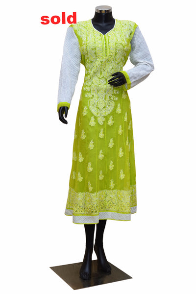 Green and white Chikankari kurta #fdn0232