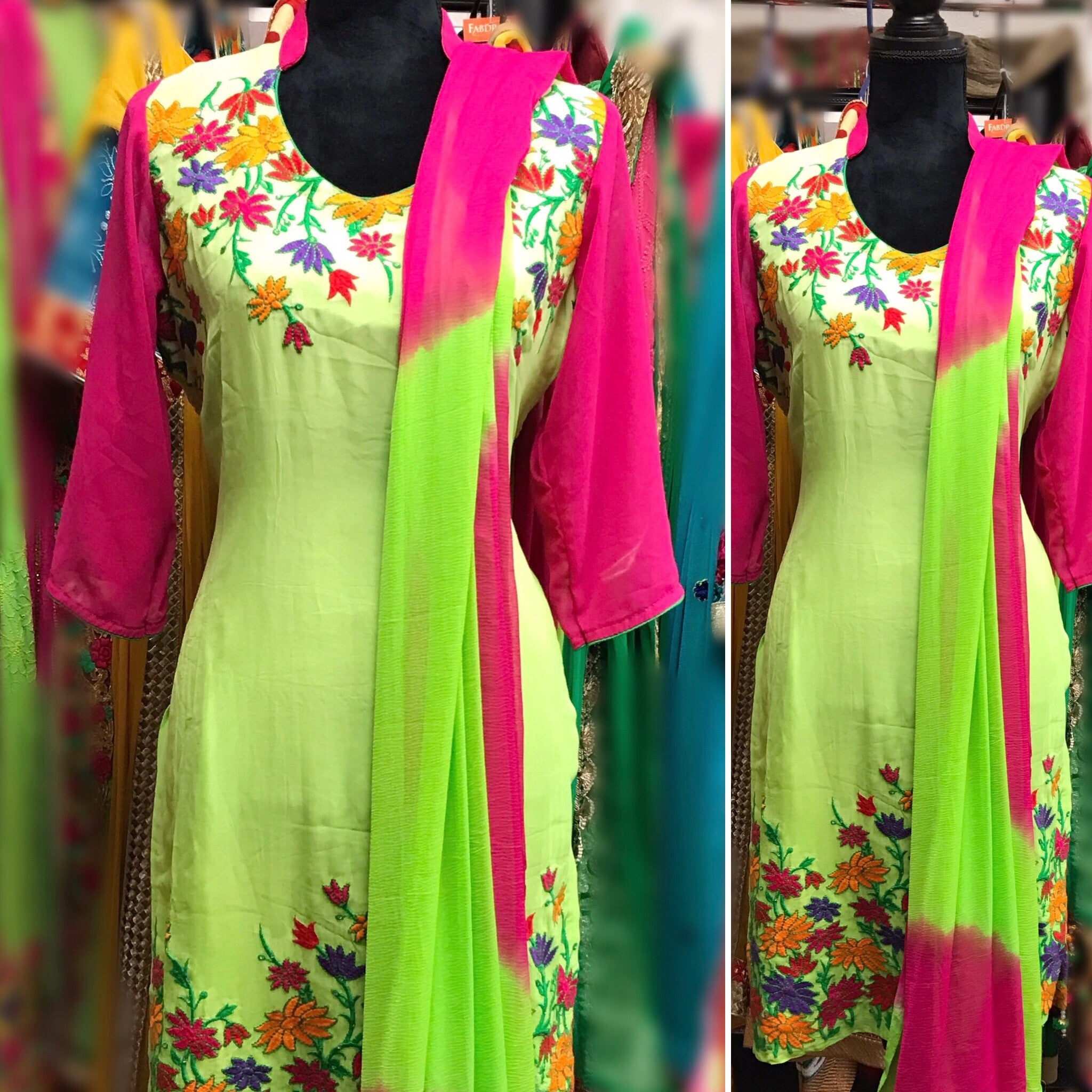 Lime and pink  color embroidered suit # fdn0207