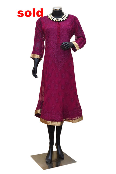 Cherry color brocade trim Chikankari kurta #fdn0236