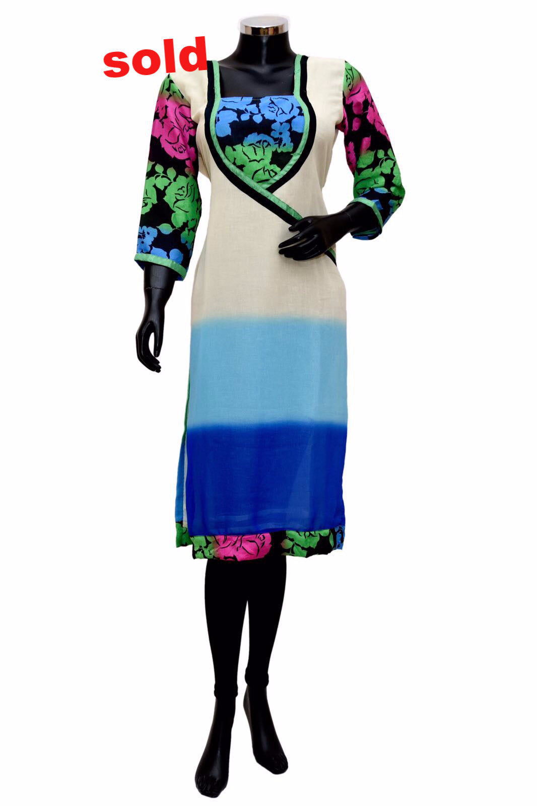 A multicolored kurta on georgette # fdn0304