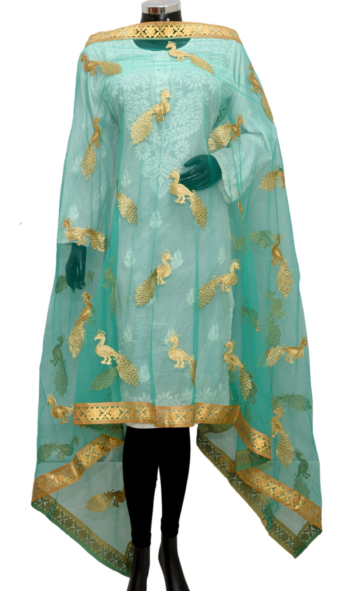 Green net fancy dupatta fdn1388-141