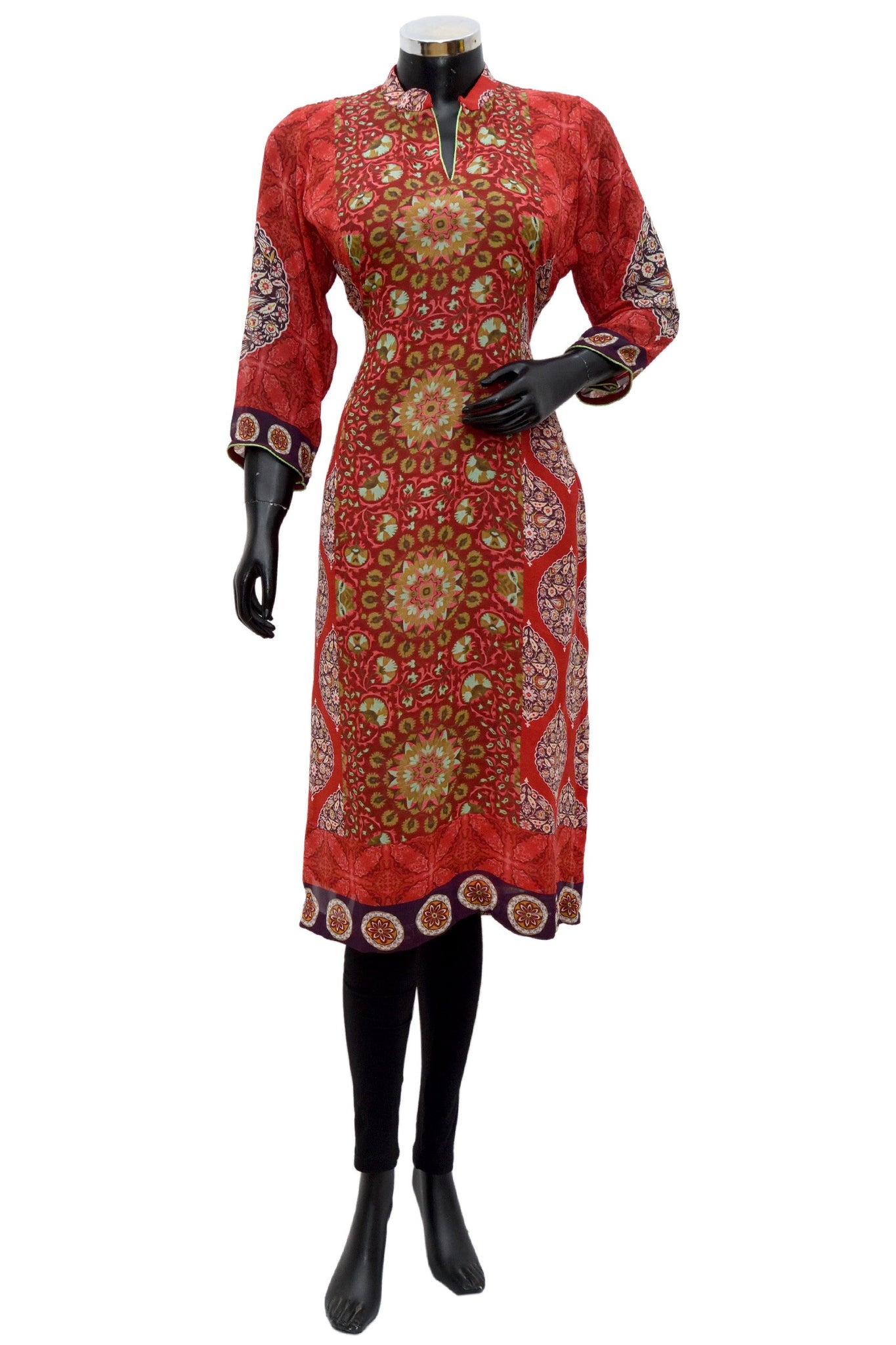 A printed kurta in red #fdn650-131