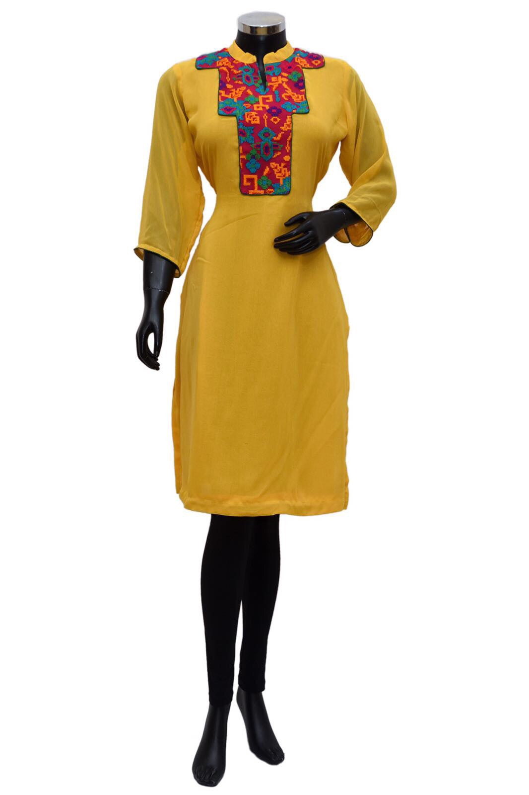 A yellow embroidered kurta # fdn582-91