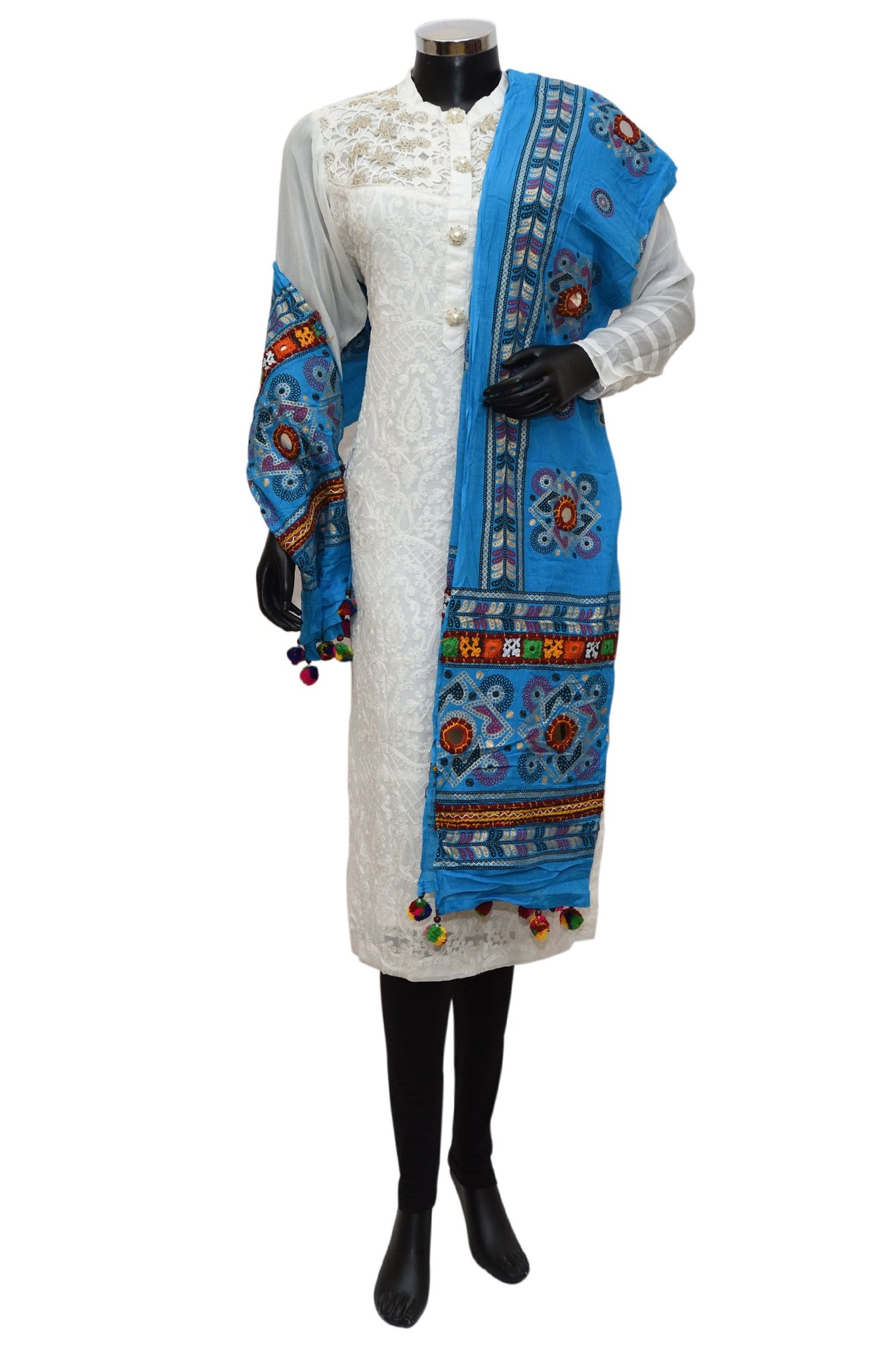 A blue embroidered mirror work stole # fdn0454