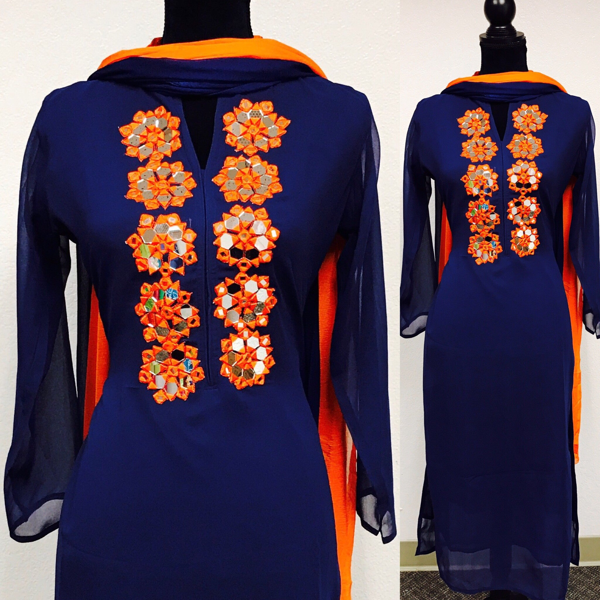 Mirror work embroidered kurta fdn0215