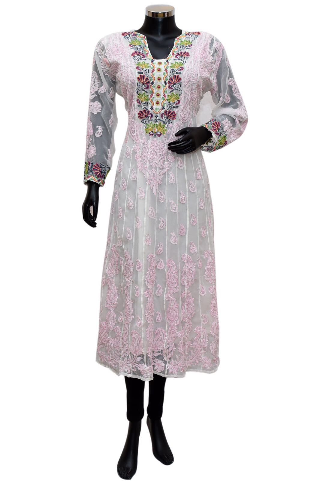 Chikankari embroidered kurta in white and pink  # fdn0392