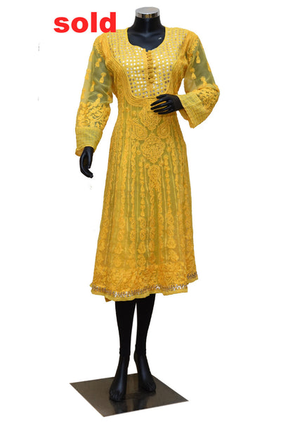 Yellow color  Chikankari kurta # fdn0230