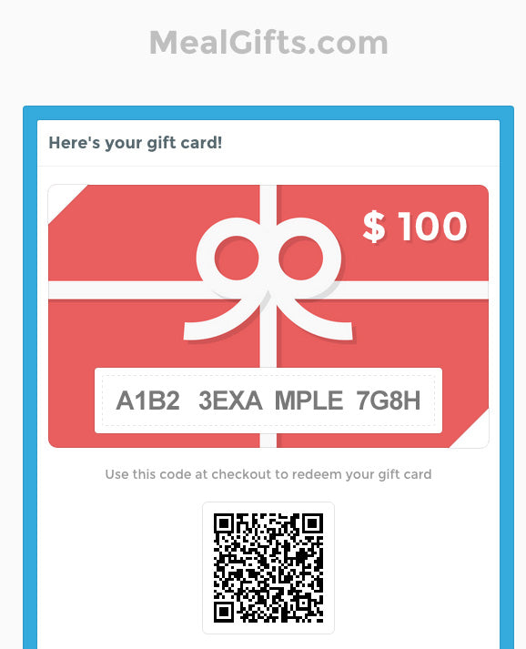 MealGift.com Gift Card Sample
