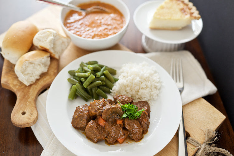 Beef Burgundy with Soup and Dessert