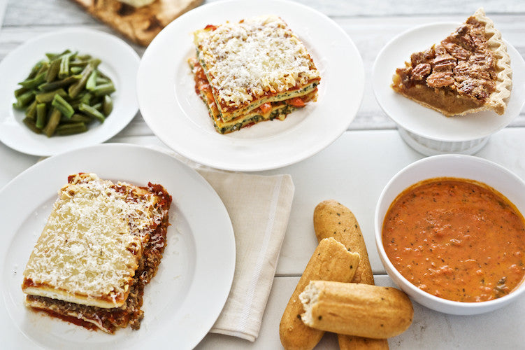 Double Lasagna with Soup and Dessert