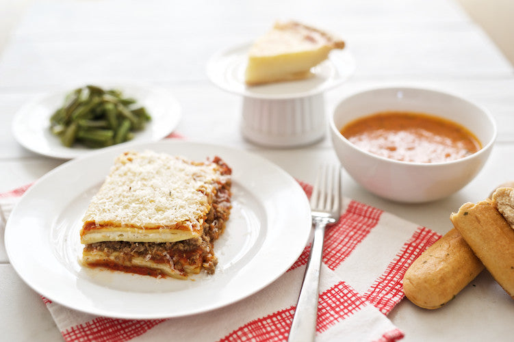 Meat Lasagna with Soup and Dessert