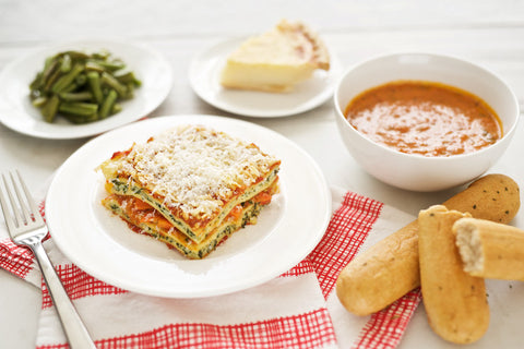 Vegetable Lasagna with Soup and Dessert