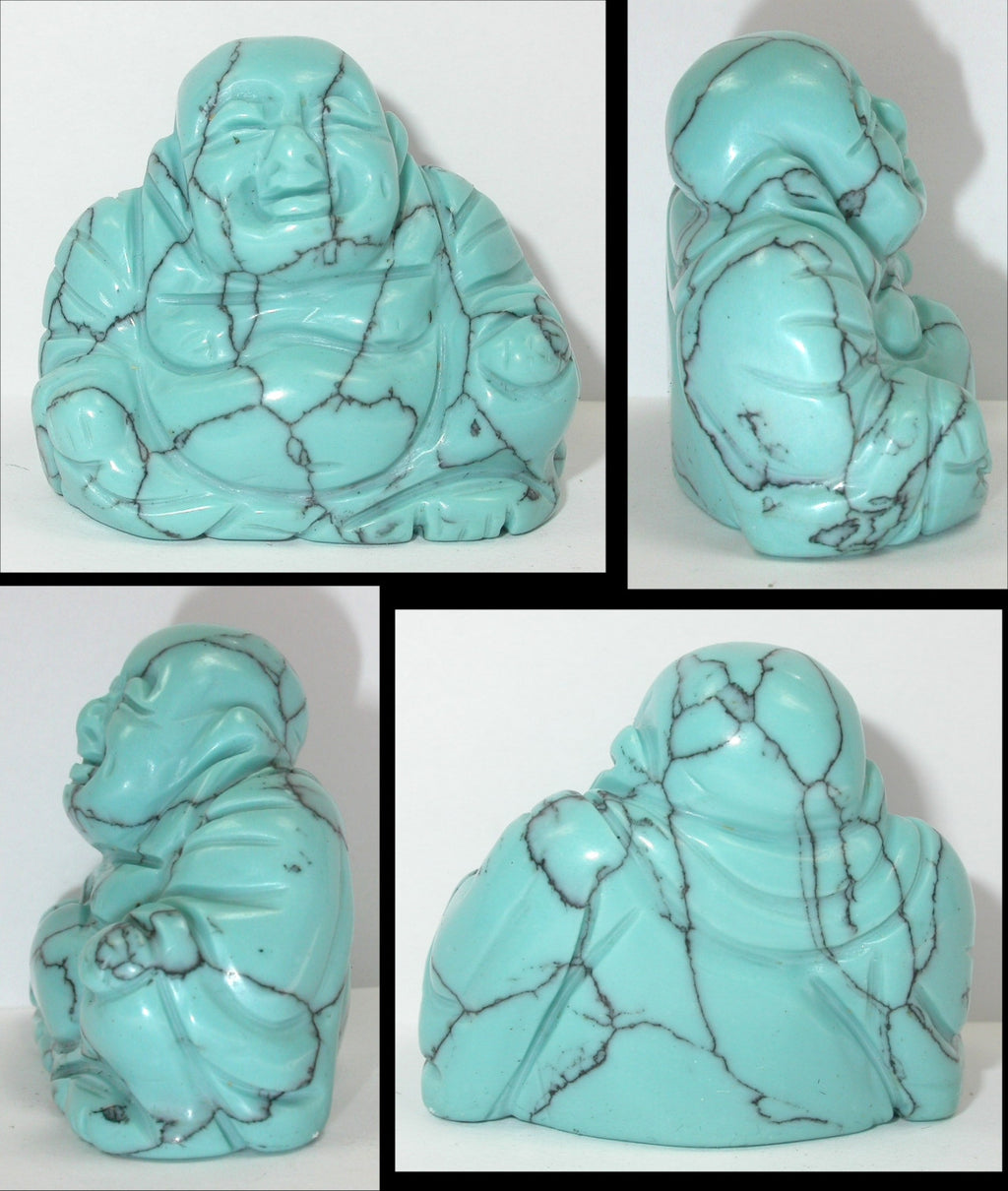 Turquoise Howlite LAUGHING BUDDHA Figure - Calm Communication!