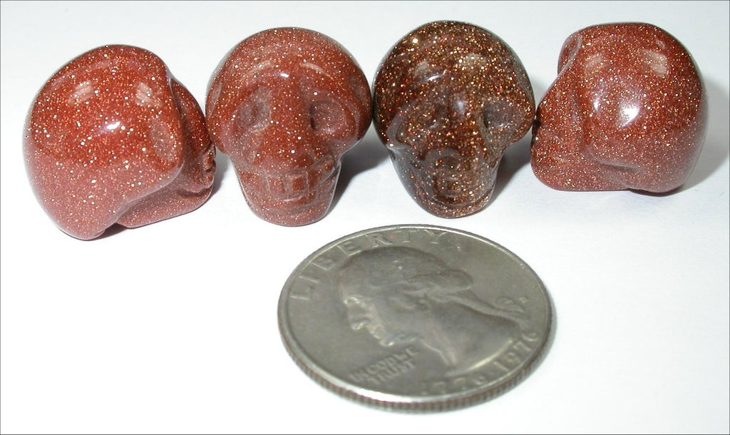 GOLDSTONE Pocket Sized Crystal Skull - Healing Work! Grounding!