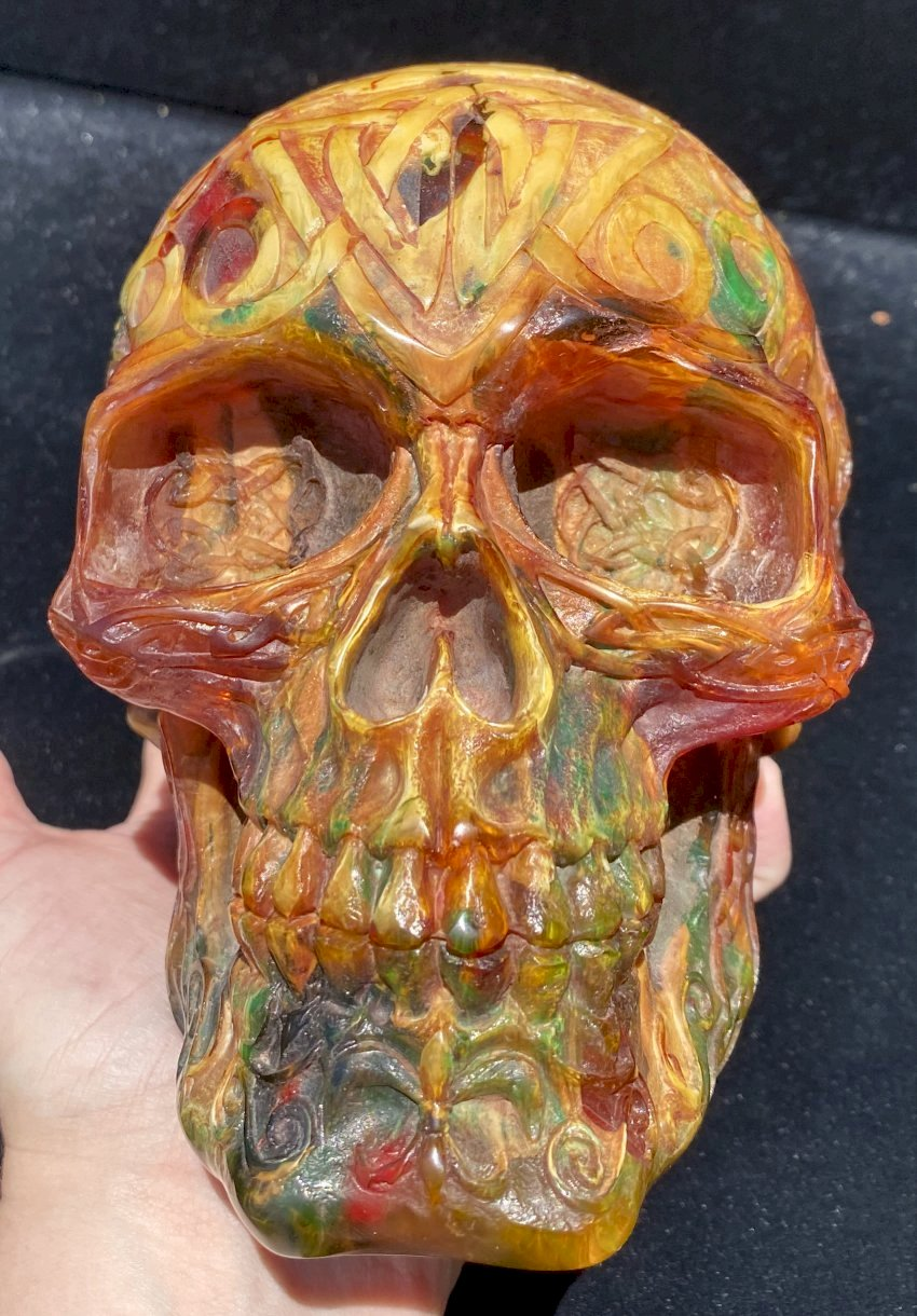 LifeSize Reconstituted Amber Crystal Skull with Celtic Knot Animals & Finger Labyrinths