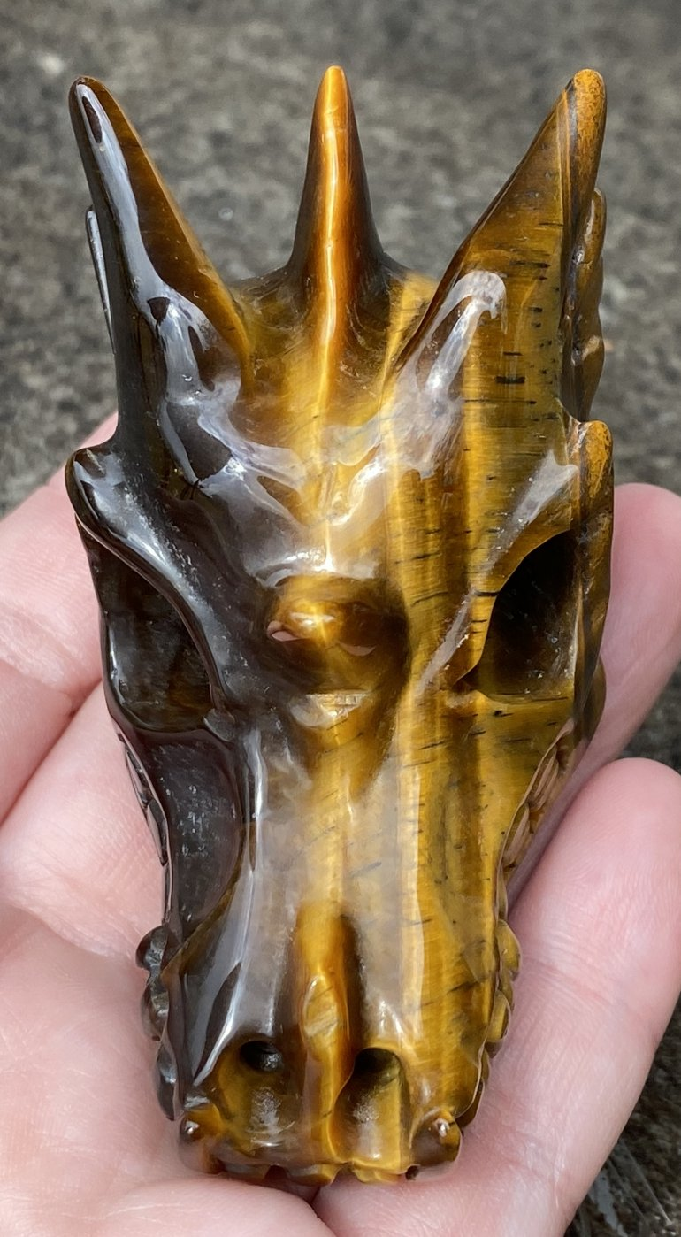 Golden Tiger Eye DRAGON Crystal Skull - Prosperity!