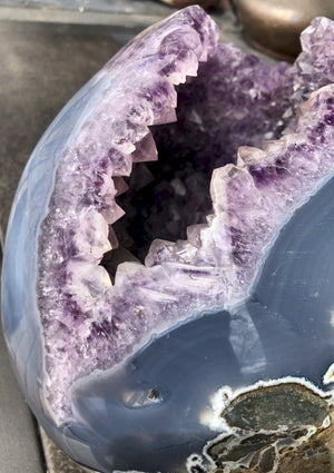 ~Incredible!~ Colossal 27.5lb Brazilian Amethyst Geode Crystal Skull!