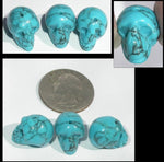 1 TURQUOISE HOWLITE Crystal Skull Bead, Vertical Drill - Calm Communication!