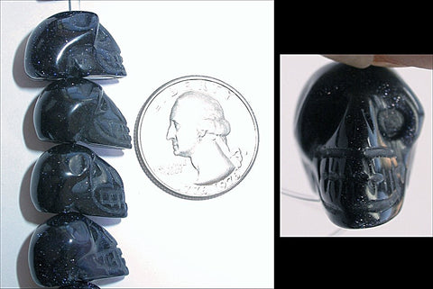 1 PURPLE GOLDSTONE Crystal Skull Bead, Vertical Drill - Healing Work!