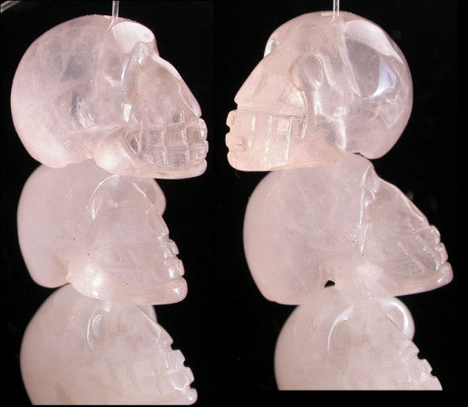 1 ROSE QUARTZ Crystal Skull Bead, Vertical Drill - Stone of LOVE!