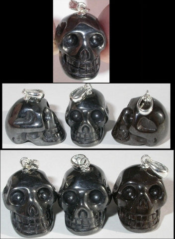 Small HEMATITE Crystal Skull Pendant - Sterling Silver bale!