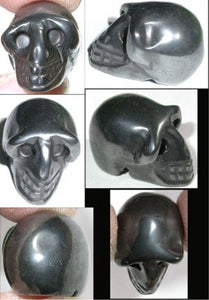 HEMATITE Pocket Sized Crystal Skull - Grounding! Manifest Divine Light!