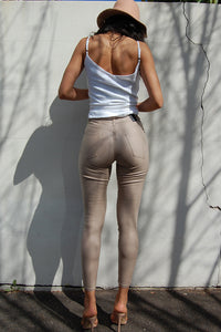7/8 Oil Riggers High Waist- Taupe