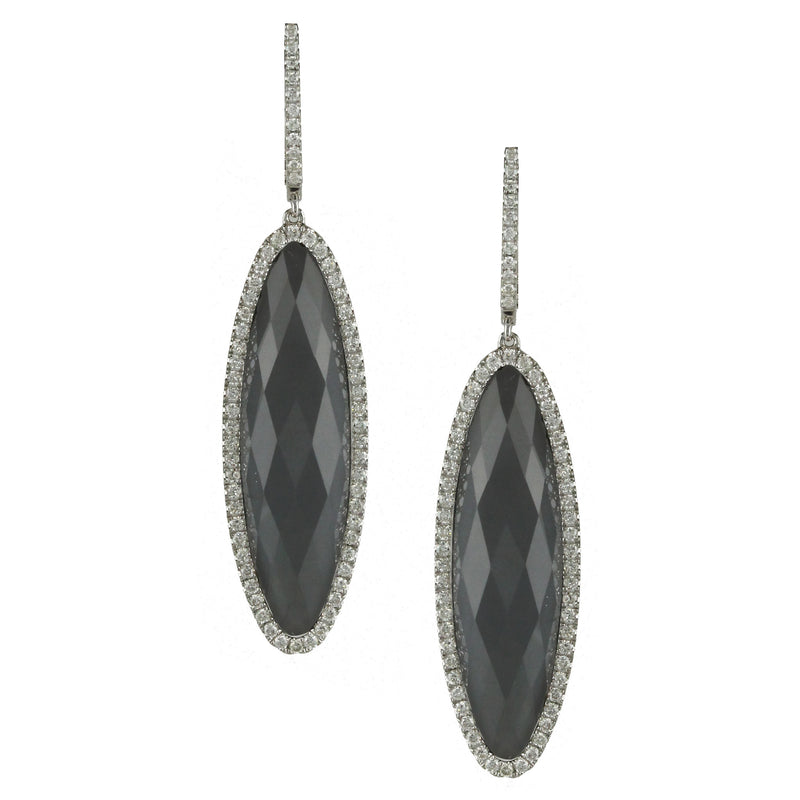 Hematite Drop Earrings with Diamonds