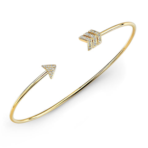 Diamond Arrow Cuff Bangle Bracelet