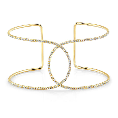 Diamond Yellow Gold Infinity Cuff