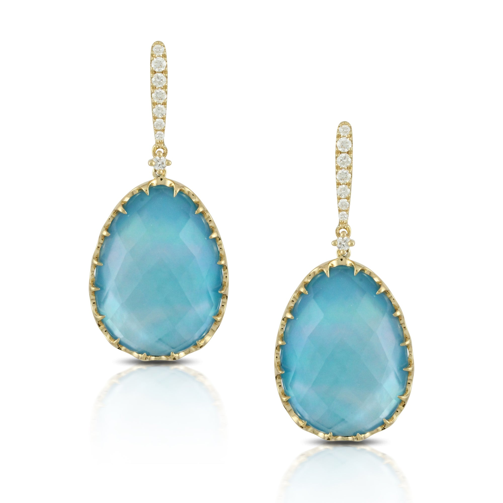 Turquoise Doves Drop Earrings with Diamond Enclosure