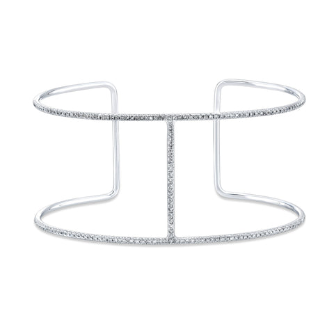 Diamond White Gold Bar Cuff