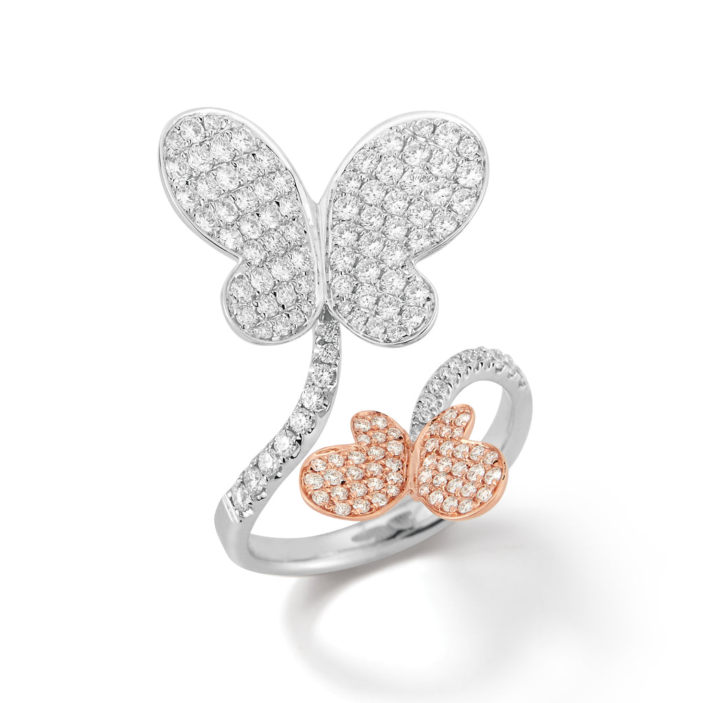 18k Gold Two-tone Diamond Butterfly Ring