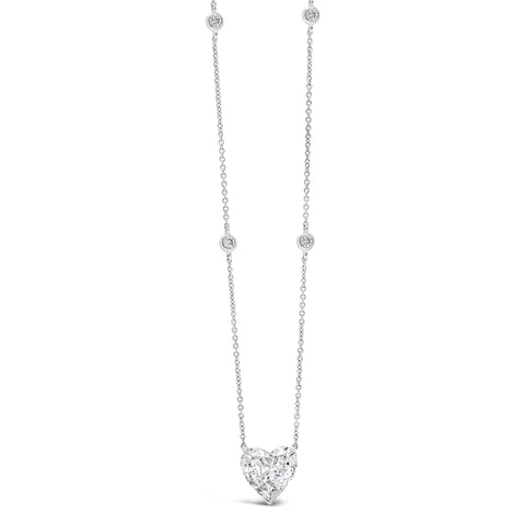Diamond Heart Necklace with Diamond Stations