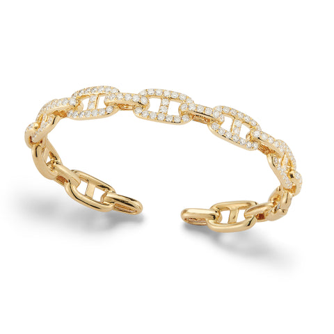 Diamond Wide Link Cuff Bracelet