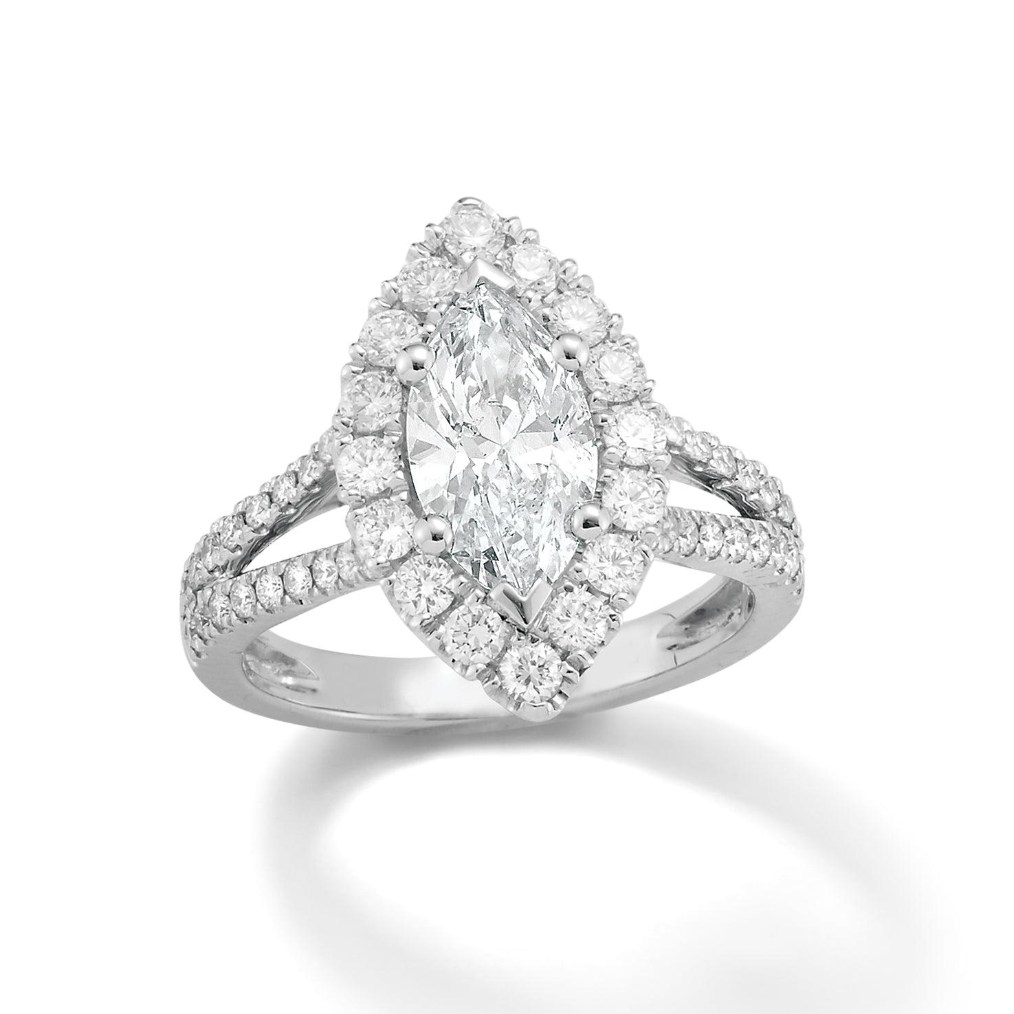 Marquise Diamond Split shank Engagement Ring