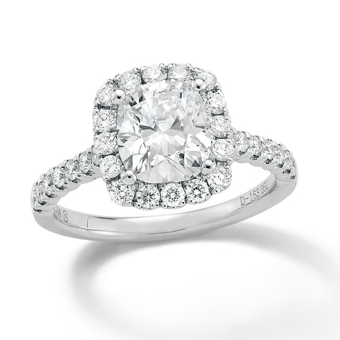 18k Gold Cushion Cut Halo Diamond Ring