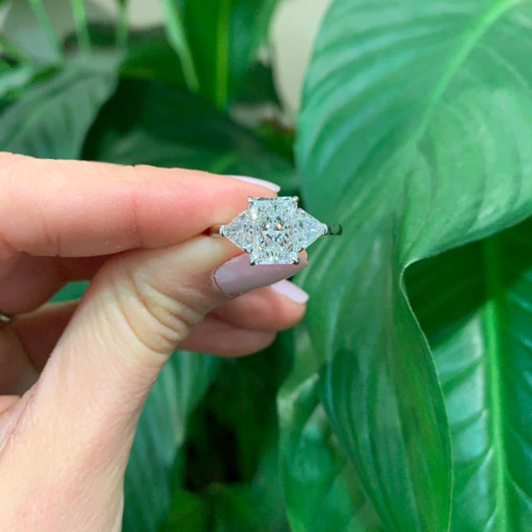 Radiant Cut Diamond with Trillants Side Stone Engagement Ring