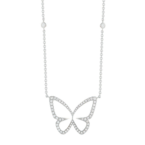 18k Gold Diamond Butterfly Pendant Necklace