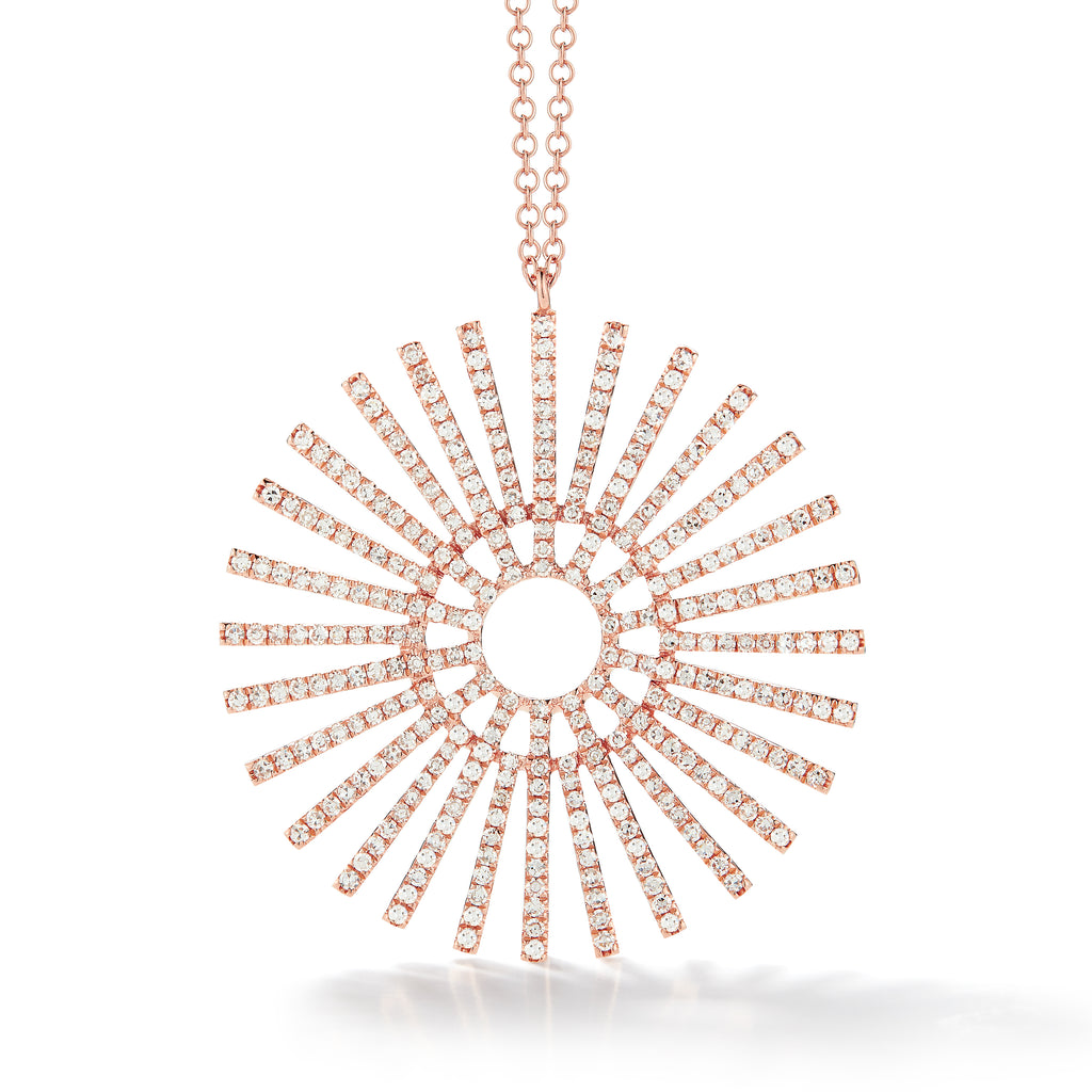 14k Gold Large Diamond Sunburst Pendant Necklace