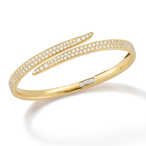 18k Gold Diamond Bypass Bangle Bracelet