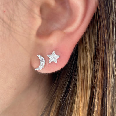 Diamond Moon & Star Stud Earrings