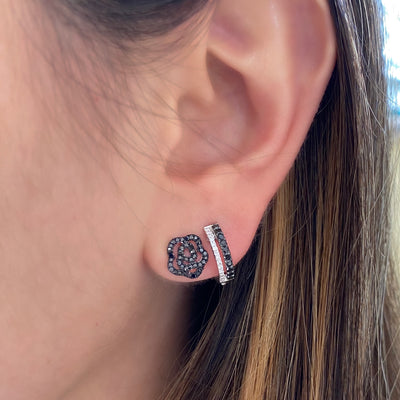 Black Diamond Rose Stud Earrings