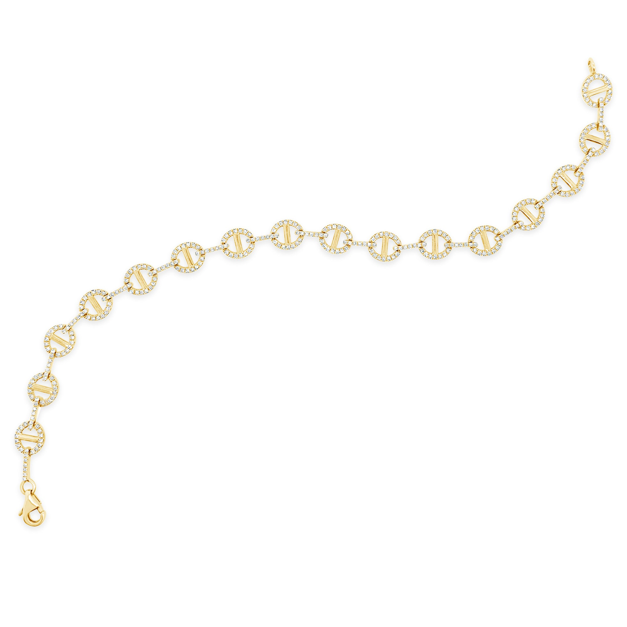 Diamond & Gold Tri-Link Bracelet