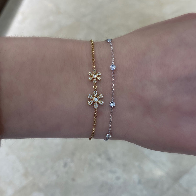 Diamond Adjustable Flower Bracelet